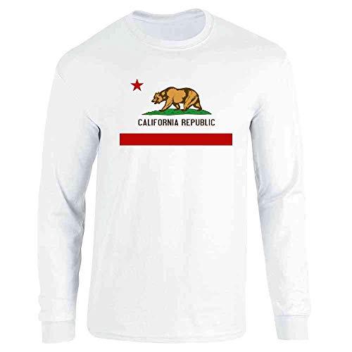 (Pop Threads California Republic Calexit Flag White XL Long Sleeve T-Shirt)