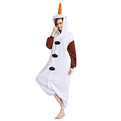 Newcosplay Unisex All-In-One Pajamas Cosplay Costume Adult Sleepwear (M, Olaf)