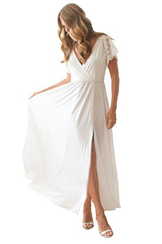 Cinderela Dress (Blush Wrap Maxi Dress With Short Lace Sleeves for Wedding, Bridesmaids or Prom)