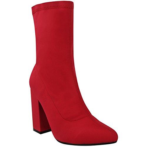 Moda Thirsty Mujeres Block De Tacón Alto Elástico Lycra Wide Fit Tobillo Tamaño Partido Lycra Rojo