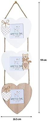 SPOTTED DOG GIFT COMPANY Marco de Fotos Multiple Colgante Original de Madera para 3 Fotos con Gato y Corazón, Blanco y Marron (Pared) Decoración de ...