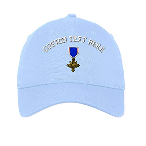 Custom Low Profile Soft Hat Distinguished Service Cross Embroidery Design Cotton Dad Hat Flat Solid Buckle Light Blue Personalized Text Here