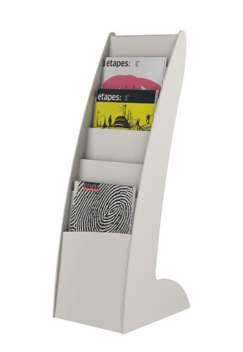 PaperFlow Curved Literature Floor Display, 6 Compartment, 34 x 10.63 x 13.78 Inches, Grey (289.02)