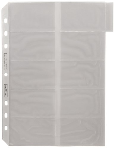 ADVANTUS Business Card Binder Tabbed Refill Pages, Clear, 5/Pack -