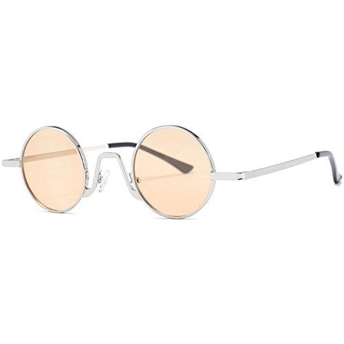 Libre Frame Montura Lentes Silver para Retro Sol De Aire Metálica con De Gafas Viajes Fansport Yellow Moda Sol Gafas Sol De De Gafas Al fvHWgXTq