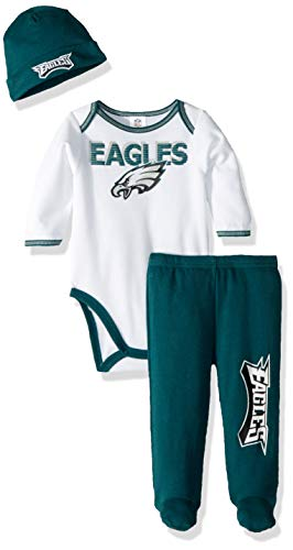 (Gerber Childrenswear NFL Philadelphia Eagles Boys 2018Bodysuit Footed Pant & Cap Set, Green, 0-3)