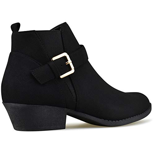 Strappy Casual Comfortable Bootie V3 Toe Heel Premier Closed Standard Black Buckle Boot Low Walking Women's vqYww4xE