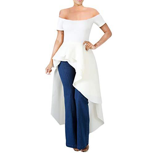 Annystore High Low Tops for Women - Ruffle Off Shoulder Sleeveless Bodycon Peplum Shirt Dresses White Dress Top Pants Shorts