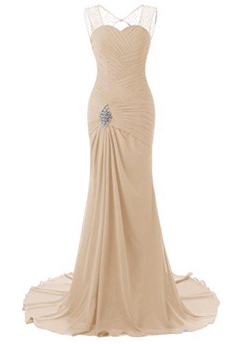 JYDress Women's Beading Chiffon Formal Prom Dresses Sweep Train Evening Gown