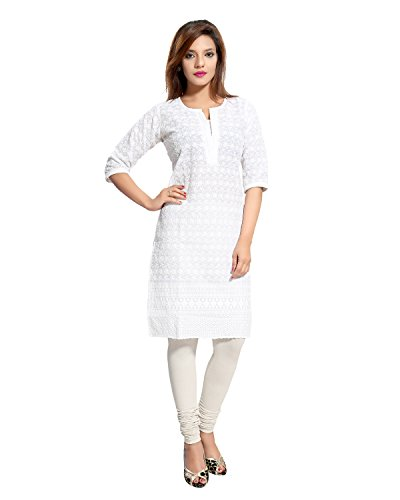 Queenshield Chikan Kurtis for Women Chikankari Cotton Kurta Kurti Indian Dress for Girls Ladies - White