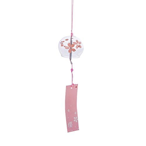 TOYMYTOY - Campana de Viento de Vidrio Estilo japonés con Campanilla de Viento Simple y Hermosa Etiqueta para pendnat,...