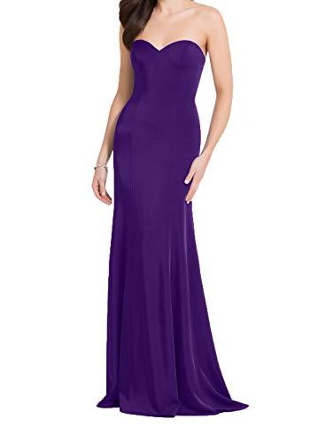 Trumpet Kleider Ballkleider Meerjungfrau Damen Abendkleider Elegant Lila Brautjungfernkleider Etuikleider Charmant Lang 7P180wxZ