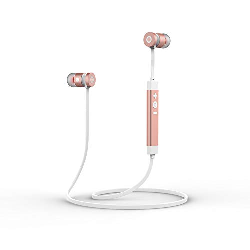 LEYOUDY Wireless Bluetooth Headphones Bluetooth V4.1 Earbuds Sport Stereo Headset, Noise Cancelling Sweat Proof Earphones - (Rose Gold)