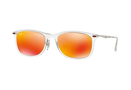 Ray-Ban INJECTED MAN SUNGLASS - MATTE TRANSPARENT Frame BROWN MIRROR ORANGE Lenses 52mm - Ban Transparent Ray