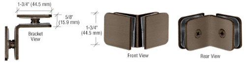 C.R. LAURENCE GCB90BBRZ CRL Brushed Bronze 90 Degree Traditional Style Glass-to-Glass Clamp