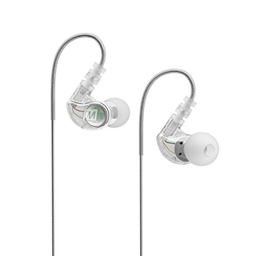 MEE audio M6 Memory Wire In-Ear Wired Sports Earbud Headphones (Clear) (2018 version) (Renewed)