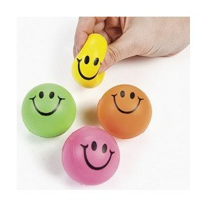 Mini Neon Smile Face Relaxable Balls (2 dz) Relaxable Balls