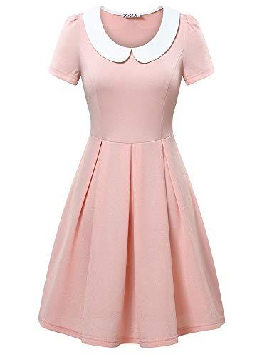 KIRA Womens Pink Petite Dress Peter Pan Collar Halloween Costume Party -