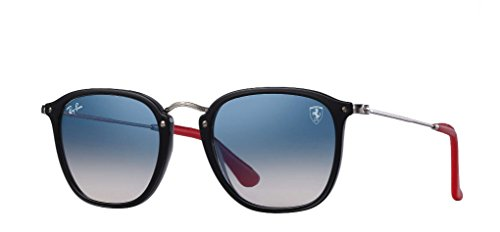 Ray-Ban RB2448NM Scuderia Ferrari Collection Sunglasses (Black/Silver, Light Blue - Ban Collection 2017 Ray