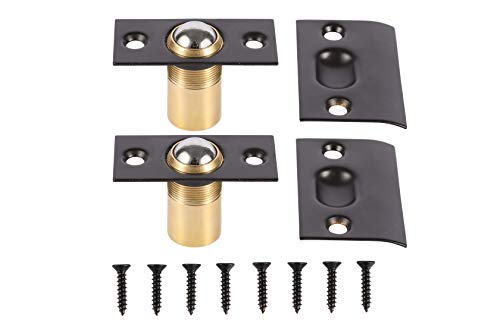 (META Hardware Adjustable Cabinet/Closet/Door Ball Catch/Latch with Strike Plate & Screws, 2-1/8 inch, Oil Rubbed Bronze (2 Pack) )