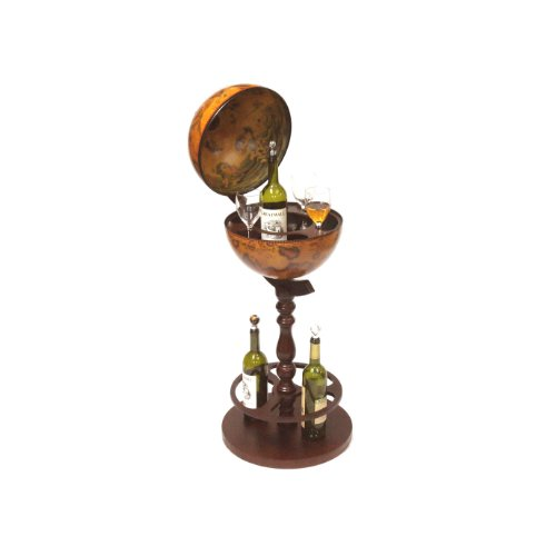 Merske Sicilia Italian Style Single Leg Floor Globe Bar, 15-1/2-Inch Diameter