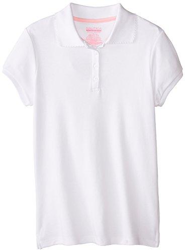 Nautica Big Girls' Uniform Short-Sleeve Polo Shirt, White, XL(16)