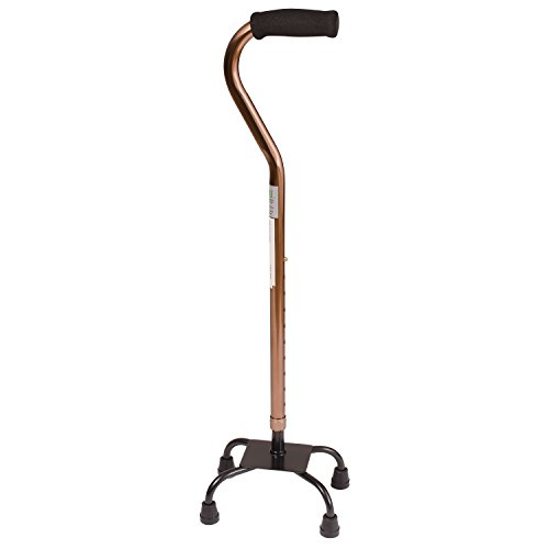 DMI Adjustable Multi-Color Quad Cane for Stability, Small Base, Bronze