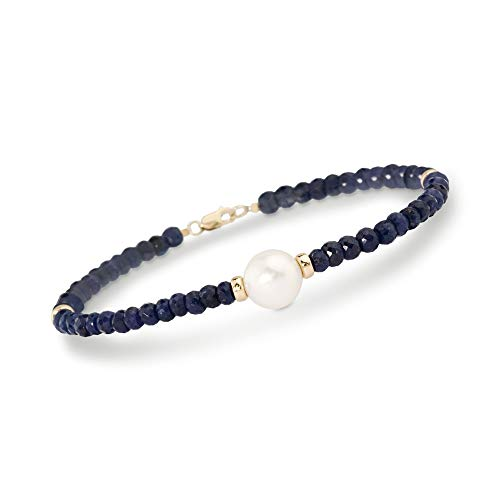 Ross-Simons 33.00 ct. t.w. Beaded Sapphire Bracelet With 10mm Cultured Pearl in 14kt Yellow Gold