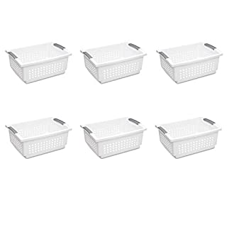 Sterilite 16648006 White with Titanium Accents Stacking Basket, Large, 6-Pack (B00IUGQG68) | Amazon Products