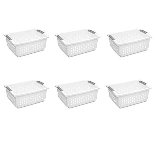 (Sterilite 16648006 Large Stacking Basket, White Basket w/ Titanium Accents, 6-Pack)
