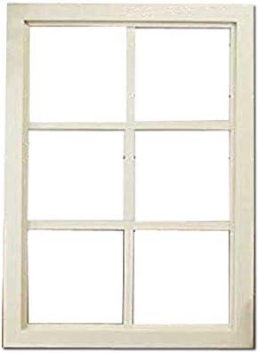カフェ窓 FIX窓・室内窓 木製ひのき 格子窓 透明ガラスの室内窓 フィックス窓 両面桟入り 52×72cm・厚み3.5cm アンティークホワイトシャビー 受注製作