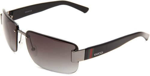 Gucci Women's 2851/S Cat Eye Sunglasses,Ruthenium & Black Frame/Grey Gradient Lens,One - Frames Rimless Gucci