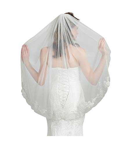"Wedding Bridal Veil with Comb 1 Tier Pencil Lace Applique Edge Fingertip Length 40"" V81 Ivory"