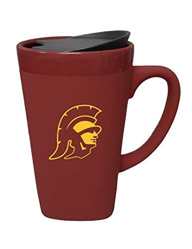 The Fanatic Group University of Southern California Ceramic Mug with Swivel Lid, Design 1 - Burgundy