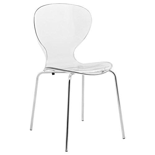 LeisureMod Carson Mid-Century Dining Side Chairs (Clear)