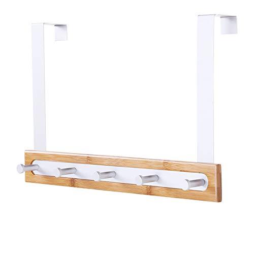 Chef Kitchen Tools Over Door Hook - 5 Coat Hooks Pegs - No Drill Towel Rack for Bathroom Storage Closet - Behind The Door Organizer Clothes Rack - Shoe Or Hat Holder - Office Cubicle Purse Hanger