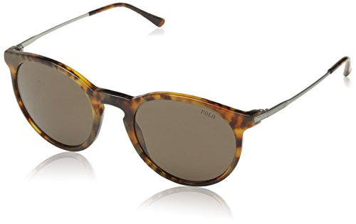 Polo Ralph Lauren Men's 0PH4096 Round Sunglasses, Jerry,Tortoise,Brown,Demi,Shiny Satin & Silver, 50 mm