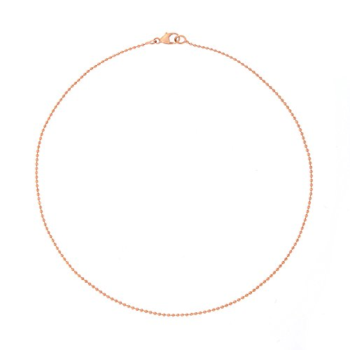 Automic Gold Solid 14k Rose Gold Bead Choker Necklace, 18
