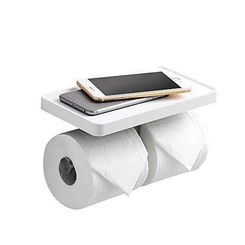 CRW Double Toilet Paper Holder White Bathroom Tissue Roller Hanger with Cell Mobile Phone Shelf Wall Mounted