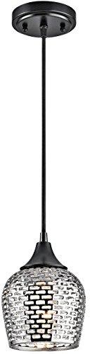 Ceiling Chrome Light Black (Kichler 43489BKSLV Annata Mini Pendant 1-Light, Black Material (Not Painted))
