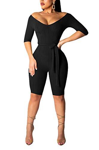 - OLUOLIN Womens Multi Wear V Neck Zipper Solid Ribbed Bodycon Jumpsuit Romper Bodysuit Black