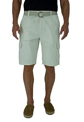 - Short Fin 100% Cotton Mens Cargo Shorts W/Belt ((Ivory Size 38 8012)