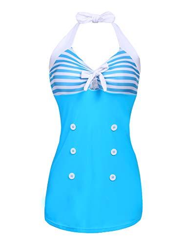 (Ekouaer Womens Retro Sailor One Piece Swimsuit Striped Contrast Color Slim Fit Boyshorts Bathing Suit Light Blue Large)