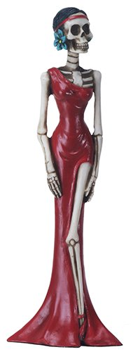 Statue Day (8 Inch Day of The Dead Lady in A Red Dress Statue Figurine Display)