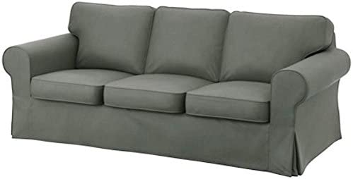Heavy Cotton for IKEA Ektorp 3 Seat Sofa Cover Replacement is Custom Made Slipcover for Ektorp Sofa. Cover Only (Dark Gray Dense Cotton)