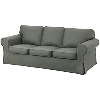 The Heavy Cotton Ektorp 3 Seat Sofa Cover Replacement is Custom Made for IKEA Ektorp Sofa Cover, an Ektorp Sofa Slipcover Replacement (Deep Gray)