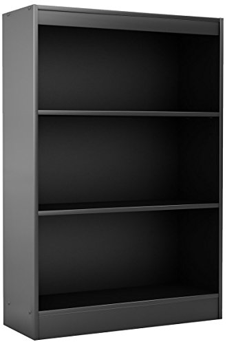 South Shore 3-Shelf Storage Bookcase, Pure Black