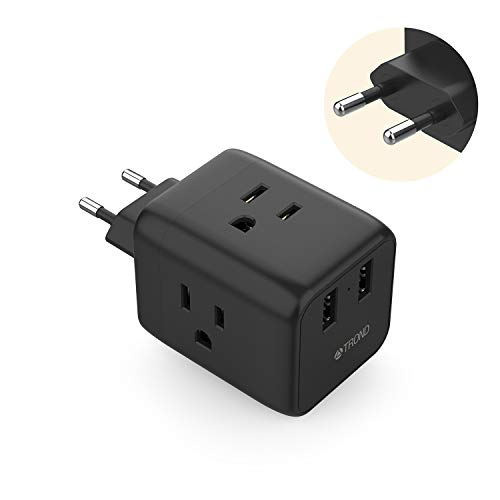 European Plug Adapter, TROND 5 in 1 Travel Adapter for European Outlets with 2 USB Ports and 3 American Outlets, for Germany France Italy Spain Greece Israel (Type C Plug, Black)