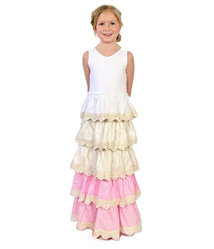 Jennifer and June Lace Tiered Pink and Ivory Long Maxi Dress for Toddler Girls. Sizes 2T, 3T, 4T, 5T and 6T. (Pink and Cream, 5T-6T)