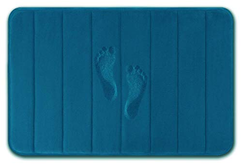 (RIOLIFE Memory Foam Bath Mat Large Size 31.5 by 19.6 Inches, Maximum Absorbent, Soft, Comfortable, Non-Slip, Thick, Machine Wash, Easier to Dry for Bathroom Floor Rug (Peacock)